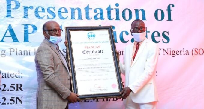 Lafarge Africa receives product quality certificates from SON Brandnewsday1