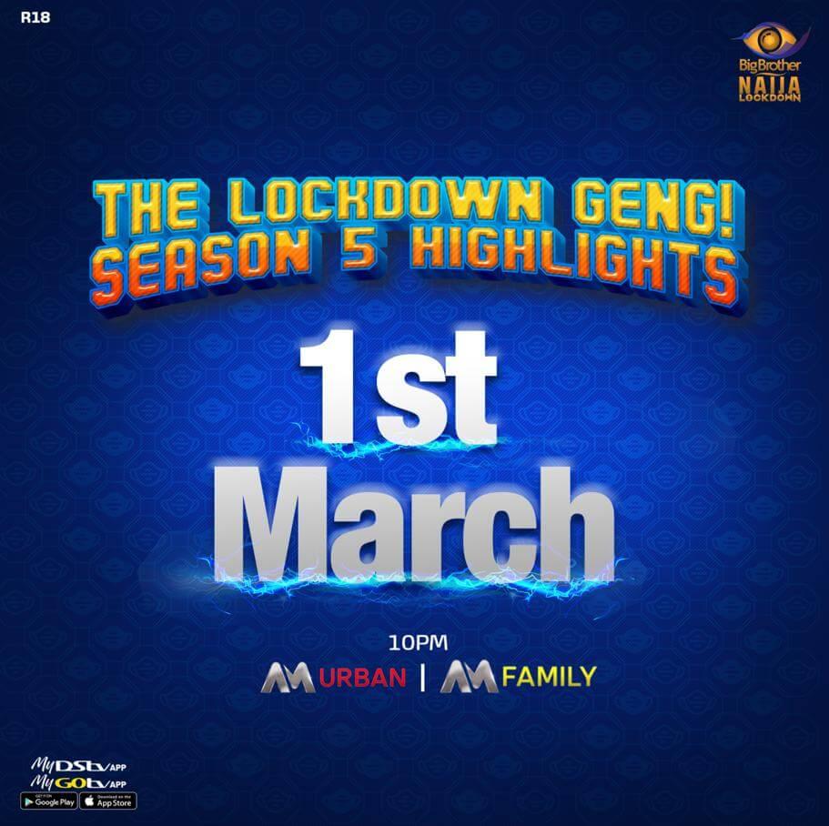 #BBNaija Lockdown Highlights Airs from March 1 on Africa Magic Brandnewsday