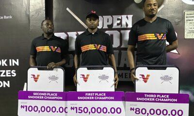 Snooker_winners_Shehu_Bamidele,_Gideon_John_and_Victor_Ukueku Gideon John, Wale Akinola Win VBank Snooker & Billiards Tournament Brand NEWS DAY